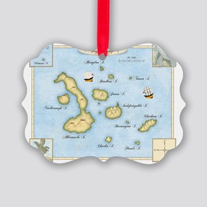 Galapagos Map Picture Ornament